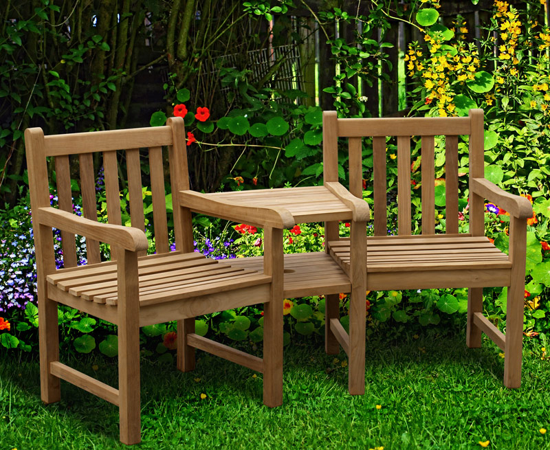 Windsor Teak Garden Companion Seat Garden Love Bench