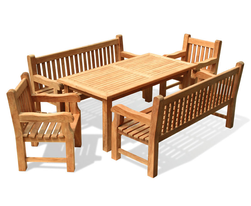 Balmoral Ft Dining Table And Benches Set Lindsey Teak - 6ft dining table and chairs