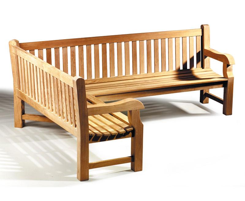 Balmoral Teak Wooden Corner Garden Bench Left Orientation Lindsey Teak