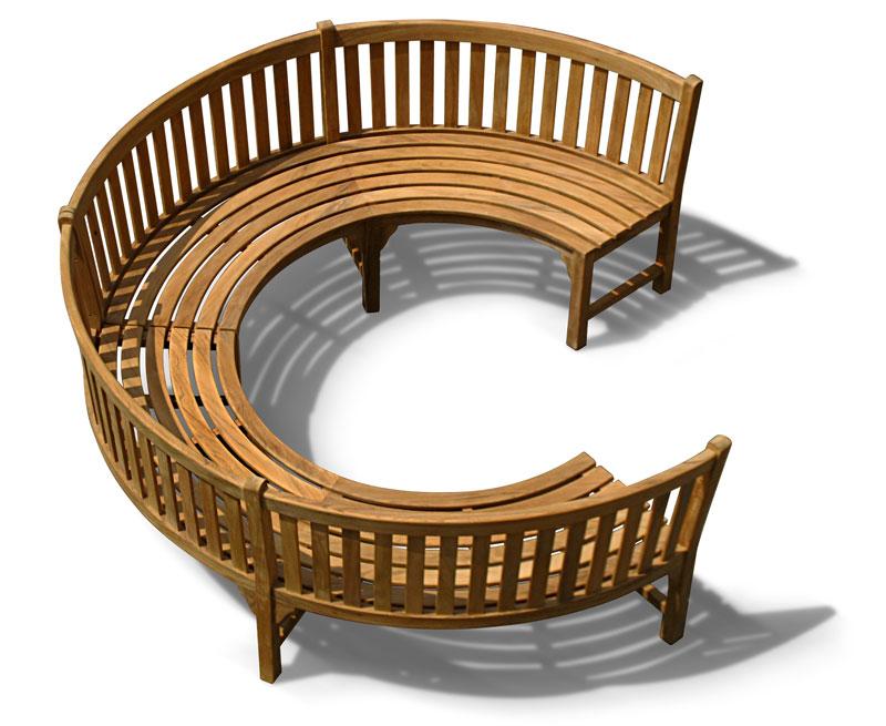 Henley _ Teak Curved Garden Wooden Bench - Lindsey Teak