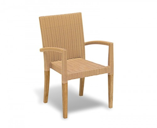 Honey Wicker St. Tropez Rattan and Teak Stacking Chair