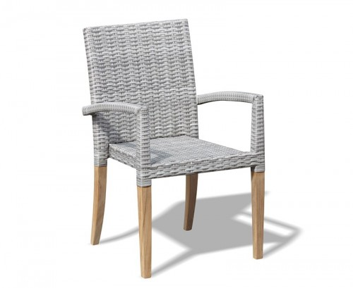 Grey Marble St. Tropez Rattan and Teak Stacking Chair