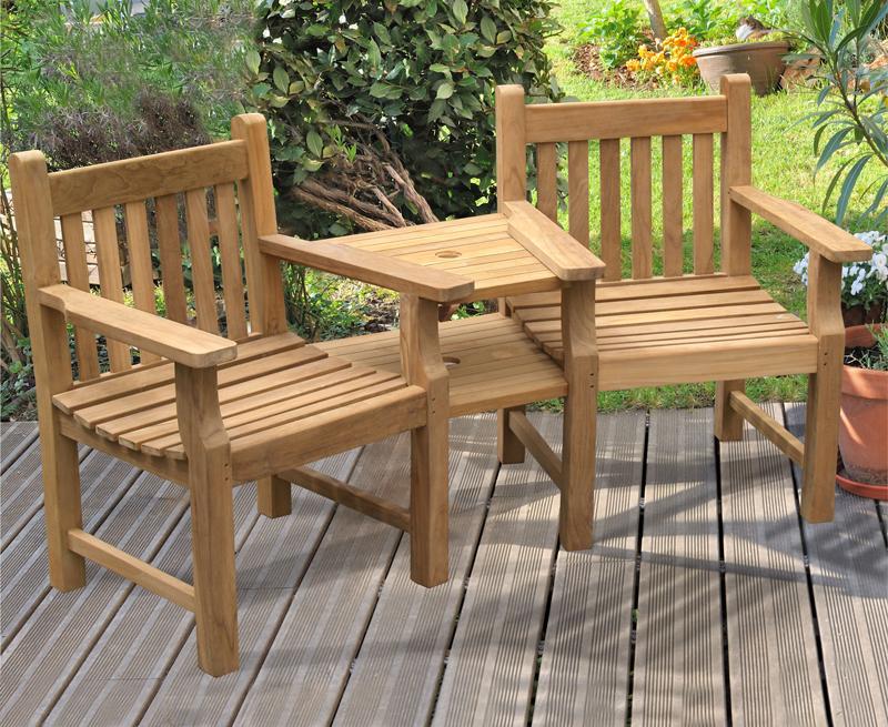 Taverners garden teak companion seat jack and jill seat for Jack e jill house