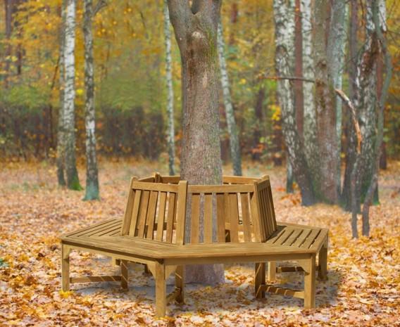 Lt054_tree_seat_hexagonal_lg; Teak Hexagonal Tree Bench Tree Seat  ...