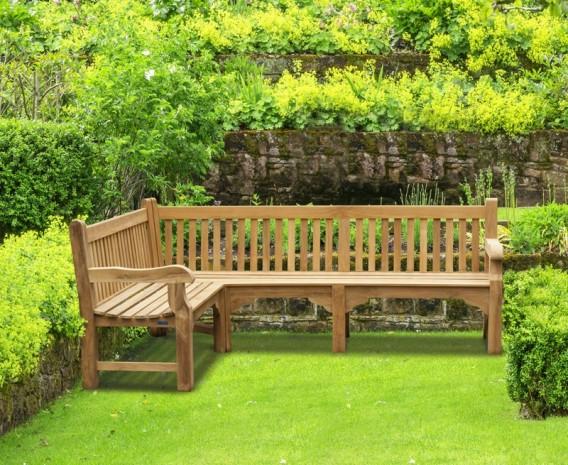 Balmoral Teak Wooden Corner Garden Bench (Left Orientation ...