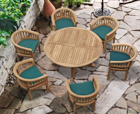 Canfield Contemporary 5ft Round Garden Table And 6 Tub