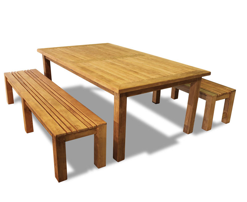 Chichester Teak Garden Table and Benches Set - 2m - Lindsey Teak