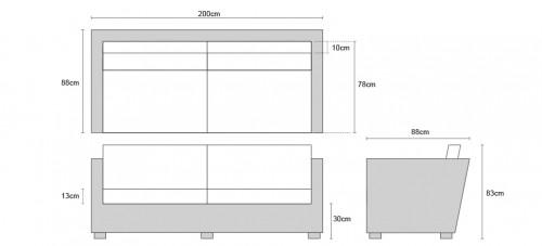 4-Seater Riviera Rattan Sofa Dimensions