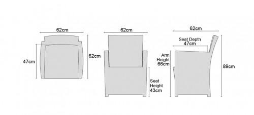 Eclipse Rattan Armchair Dimensions