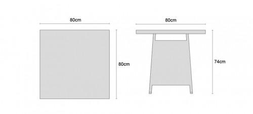 Eclipse 0.8m Square Rattan Table Dimensions