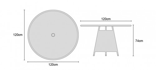 Eclipse 1.2m Glass Top Table Dimensions