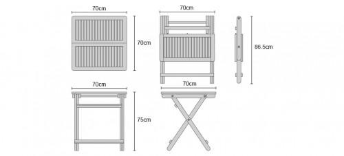 Rimini 0.7m Square Folding Table Dimensions