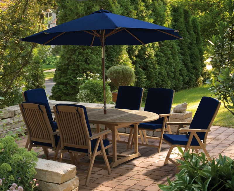 Bali 6 Seater Extending Garden Table and Reclining Chairs Set ...