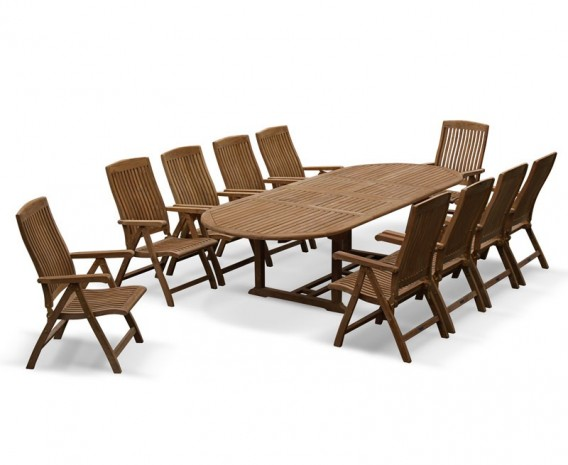 ... Bali Teak 10 Seater Extending Dining Table And  ...