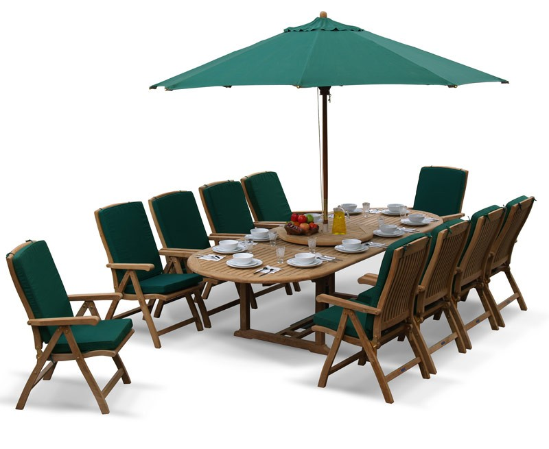 Bali Teak 10 Seater Extending Dining Table And  ...