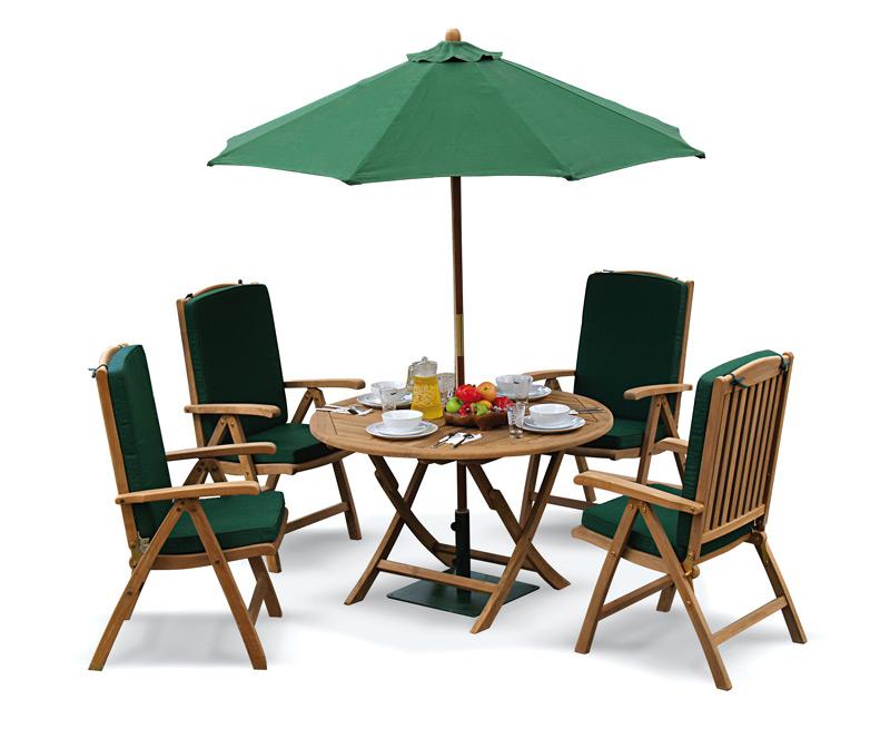 Suffolk 4 seater teak round garden table and chairs set lindsey teak - Round teak table and chairs ...