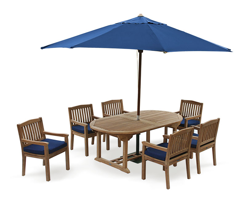 Brompton Teak 6 Seater Extending Dining Set Outdoor