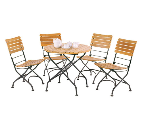 Table and chair set outdoor patio teak dining set lindsey teak - Outdoor Round Bistro Table And 4 Chairs Patio Outdoor