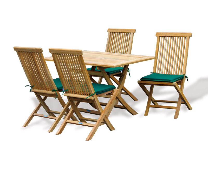 Rimini Rectangular Garden Folding Table And Chairs Set
