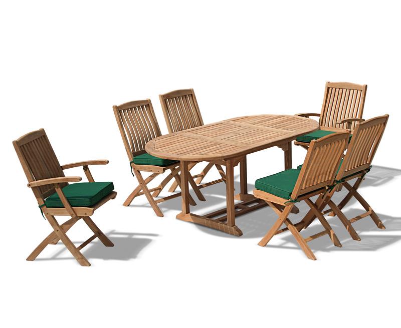 Bijou Outdoor Extending Garden Table and Folding Chairs - Patio Teak ...