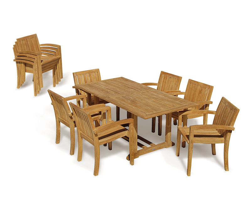 Hilgrove 6 Seater Garden Table and Monaco Stacking Chairs Set ...