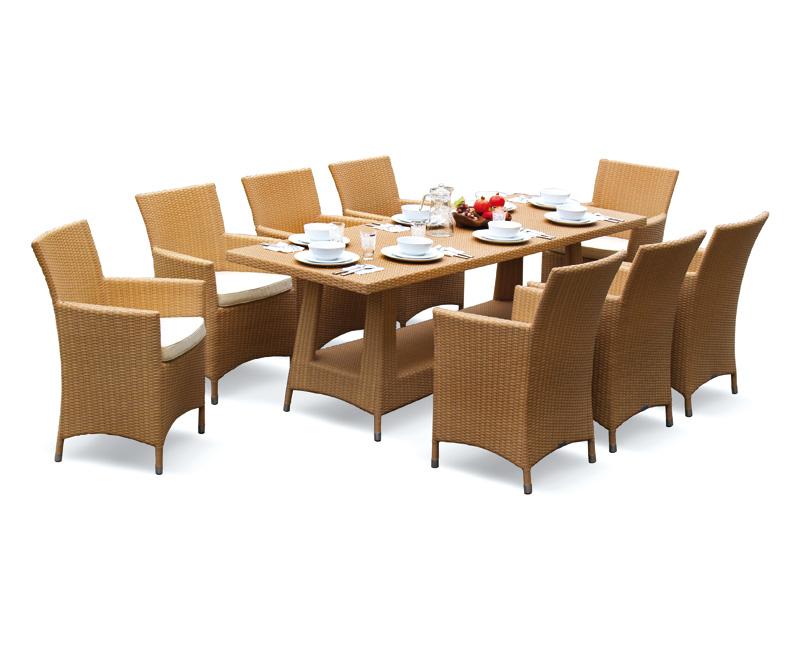 Riviera Poly Rattan 8 Seater Dining Set Lindsey Teak