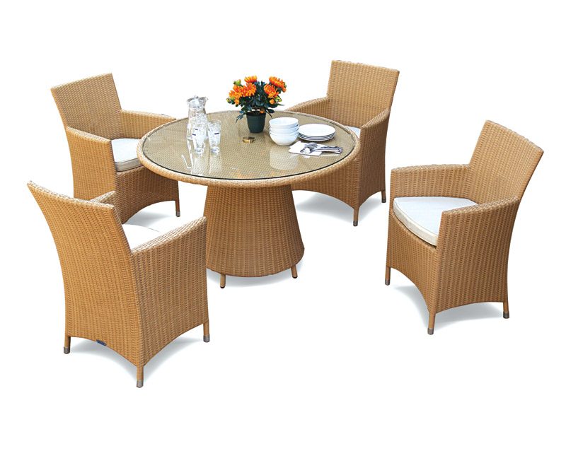 ... Glass Top Rattan Table And 4 Chairs Set.  Cs497 Eclipse Round 120 Riv Armchairs HW Lg. ...