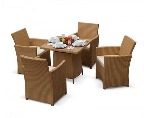 Honey Wicker 4-Seater Rattan Dining Set