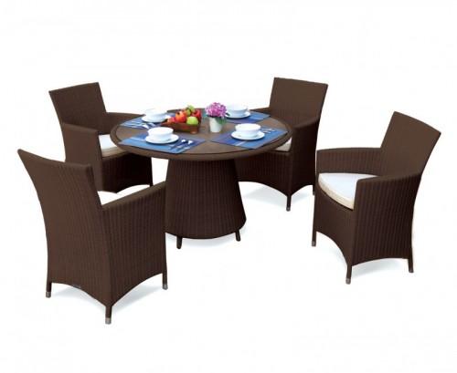 Java Brown Eclipse Rattan Glass Top Dining Set