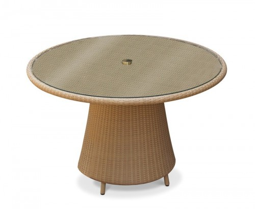 Honey Wicker Eclipse 1.2m Glass Top Table