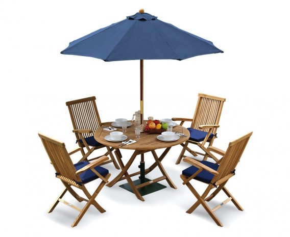 Ashdown Folding Round Garden Table And Arm Chairs Set Patio Outdoor Dining