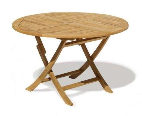Ashdown folding round garden table and arm chairs set patio outdoor dining set lindsey teak - Round teak table and chairs ...