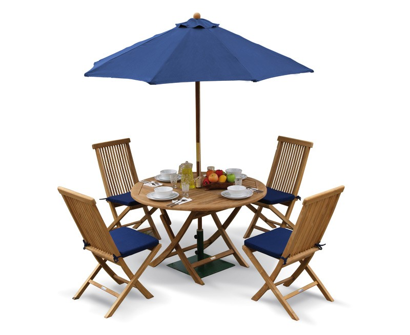 Suffolk Folding Round Garden Table and Chairs Set - Patio ...