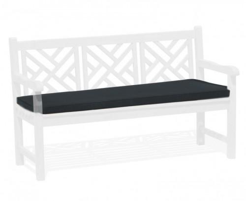 Black 3-Seater Garden Bench Cushion