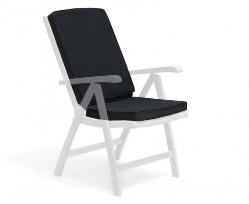 Black Garden Recliner Chair Cushion