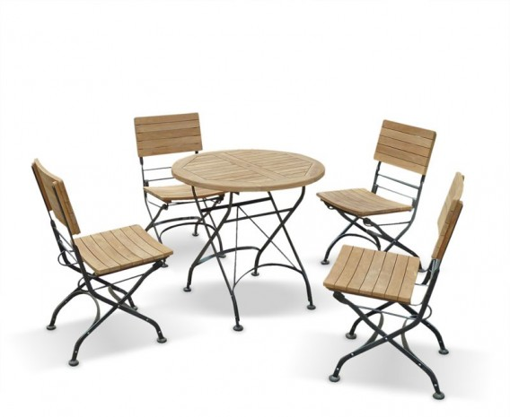 Outdoor Round Bistro Table And Chairs Patio Outdoor Bistro - Teak table and 4 chairs