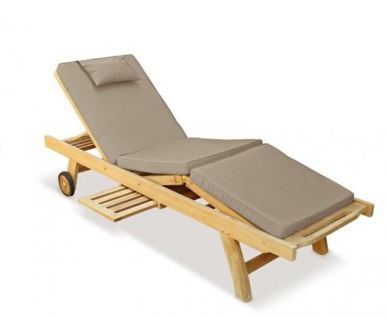 Luxury Teak Reclining Sun Lounger With Free Cushion