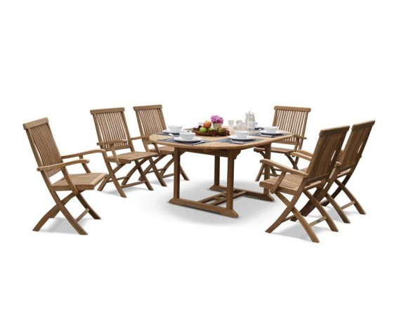 Brompton Deluxe Outdoor 6 Seater Extending Dining Set With