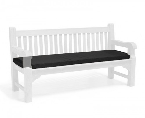 Black 4-Seater Outdoor Bench Seat Cushion