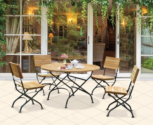 Outdoor Round Folding Bistro Table And Chairs Set Garden