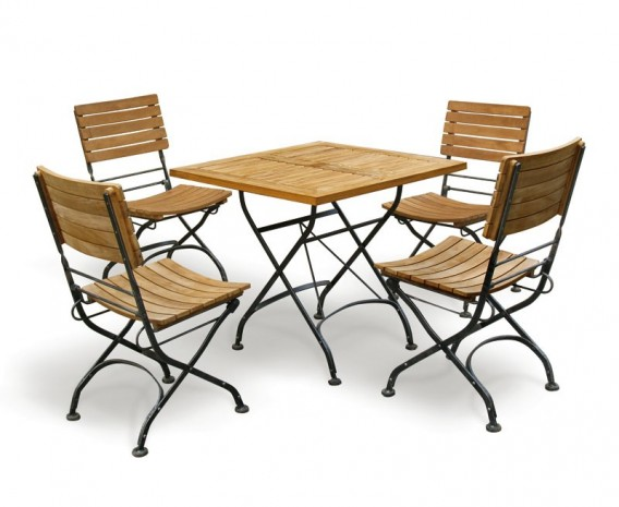 Outdoor Square Bistro Table And 4 Chairs Patio Garden Bistro Dining Set L