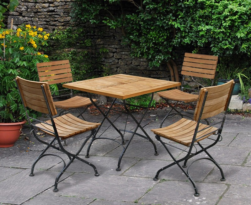 outdoor square bistro table and 4 chairs patio garden bistro dining set lindsey teak. Black Bedroom Furniture Sets. Home Design Ideas