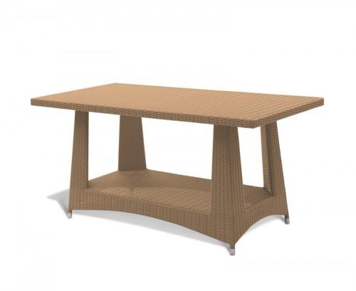 Honey Wicker 0.8x1.6m Rectangular Rattan Dining Table