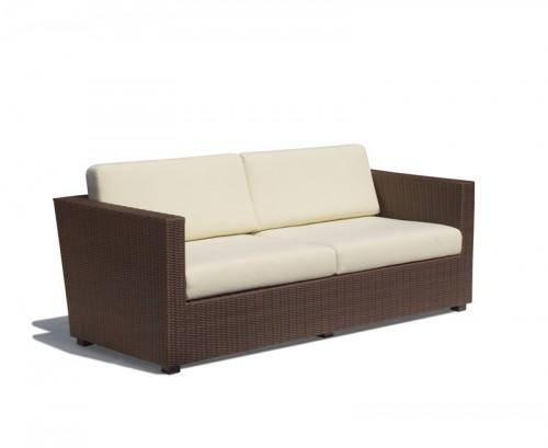 Java Brown 4-Seater Riviera Rattan Sofa