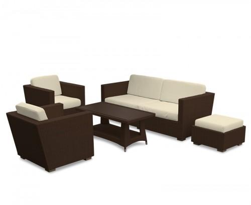 Java Brown Riviera 5-Piece Rattan Sofa Set