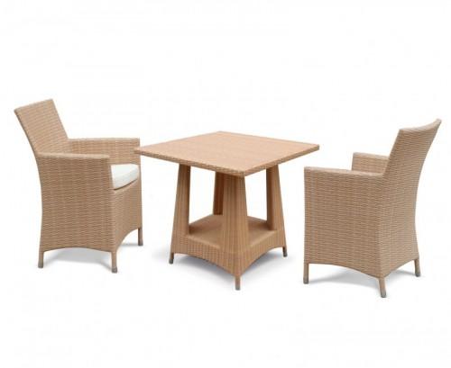 Honey Wicker 2-Seater Riviera Rattan Dining Set