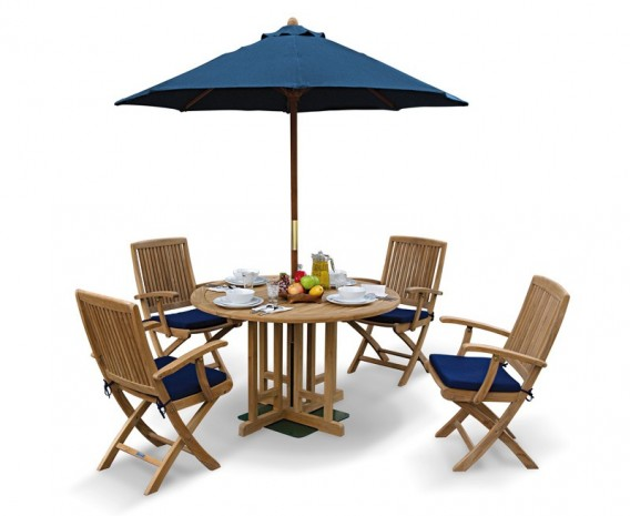 round garden gateleg table and arm chairs set - Garden Furniture 4 Seater