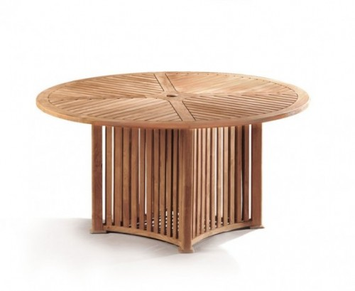 Aero round garden table and 6 chairs set lindsey teak - Round teak table and chairs ...