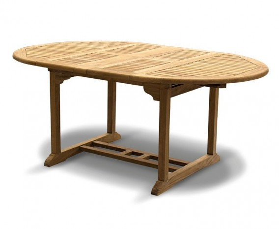 Brompton Bali Teak Extendable Dining Table Set With Stackable - Teak oval extension dining table