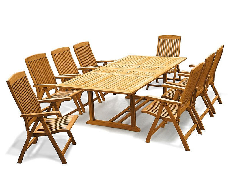 adefa11b744f Dorchester Teak Extendable Garden Table and 10 Reclining Chairs Set ...